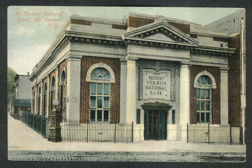 Mt Vernon National Bank NY postcard 1910s