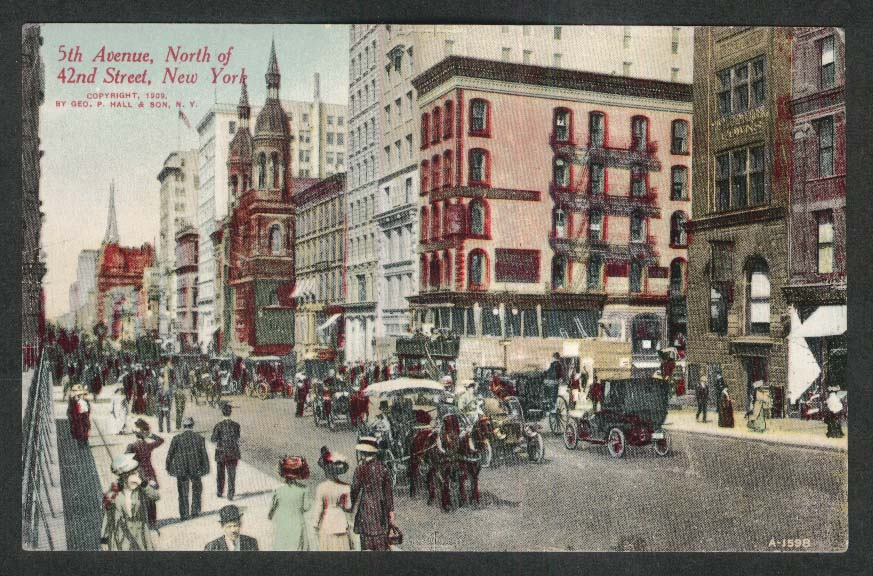 Horse Carriages 5th Avenue & 42nd Street New York City NY postcard 1909