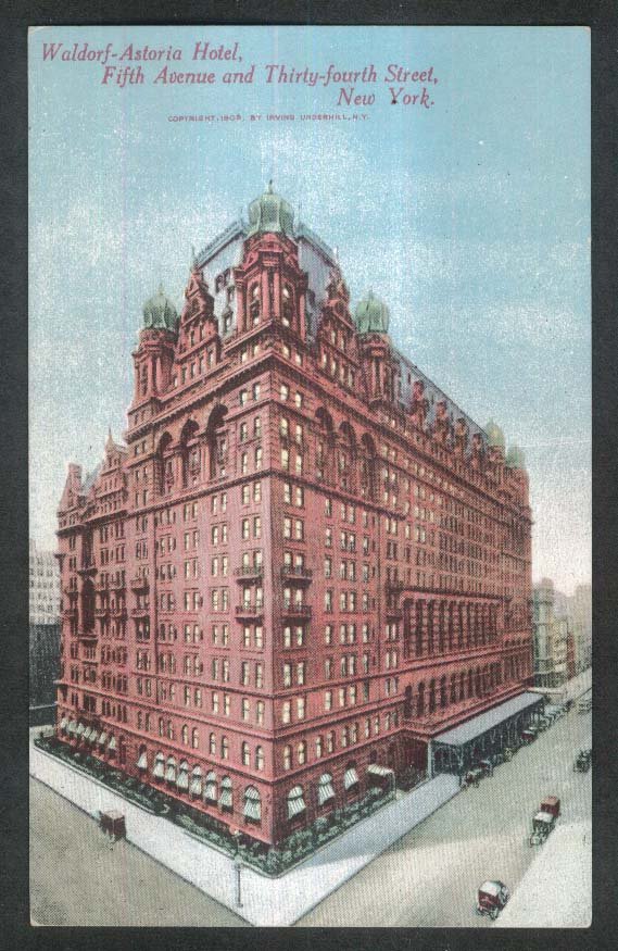 Waldorf-Astoria Hotel 5th Ave & 34th St New York City NY postcard 1910s