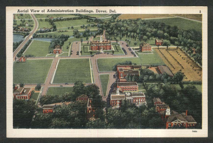 Aerial View of Administration Buildings Dover DE postcard 1930s