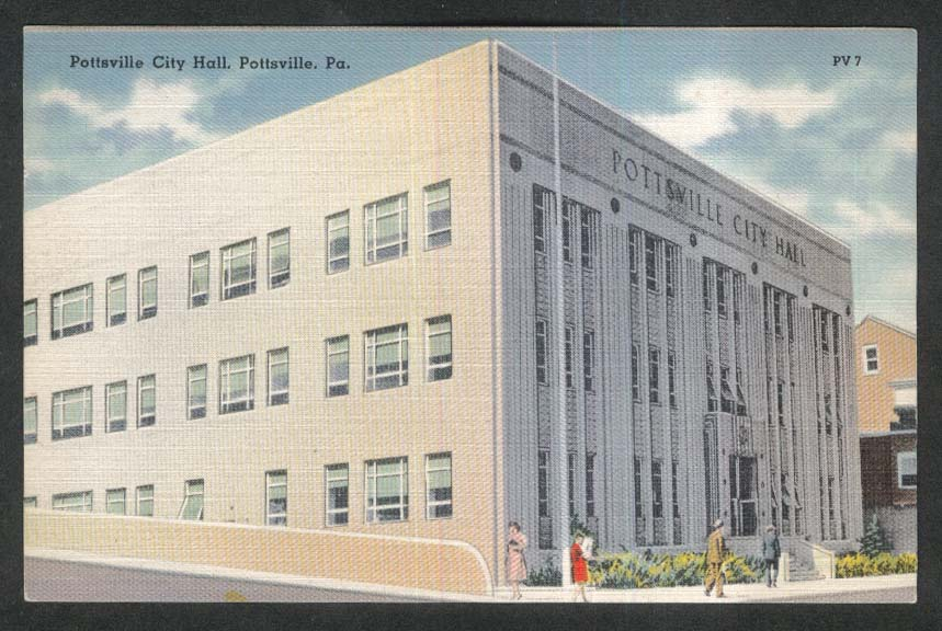 Pottsville City Hall Pottsville PA postcard 1930s