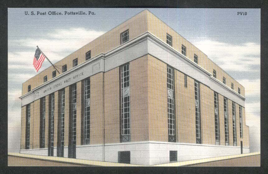 US Post Office Pottsville PA postcard 1930s