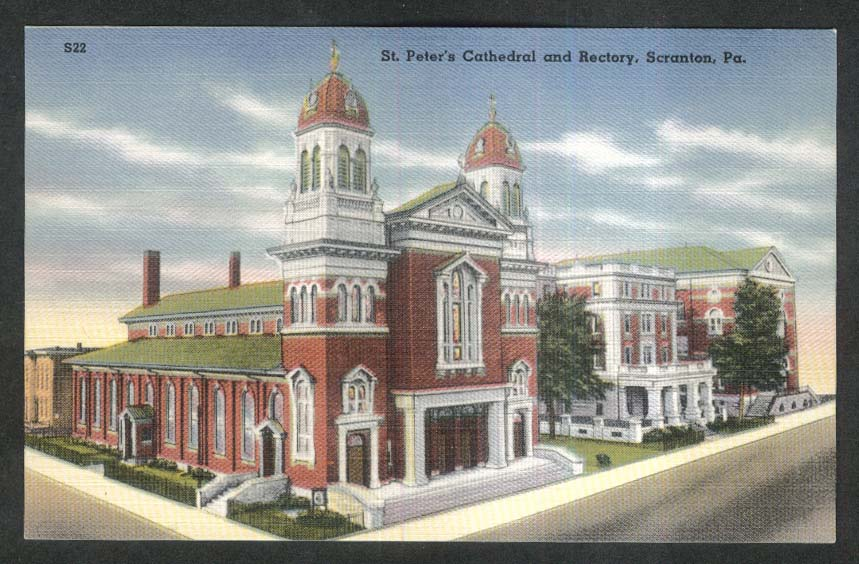 St Peter's Cathedral & Rectory Scranton PA postcard 1930s
