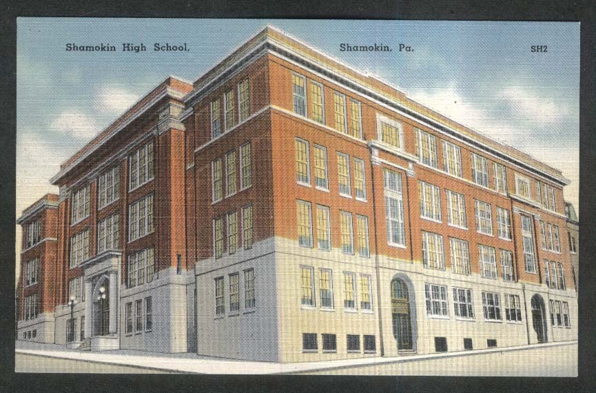 Shamokin High School Shamokin PA postcard 1930s