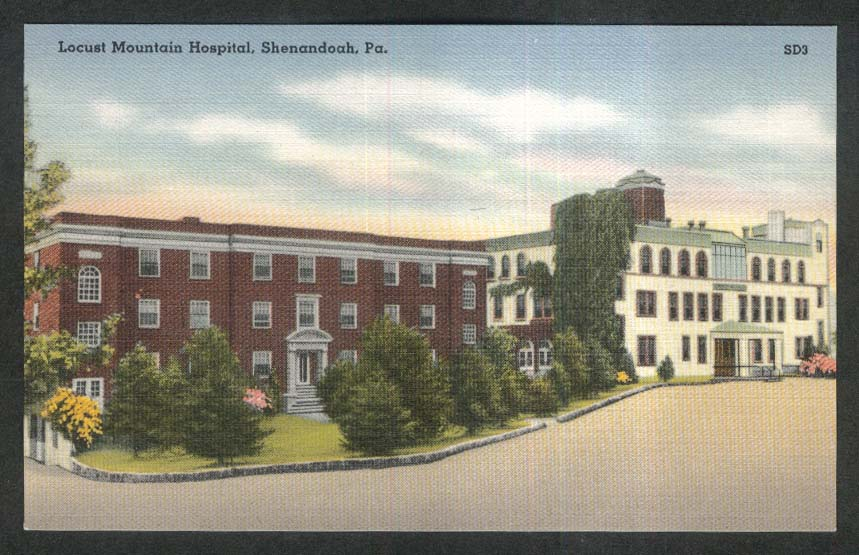 Locust Mountain Hospital Shenandoah PA postcard 1930s