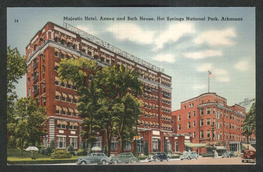 Majestic Hotel Annex & Bath House Hot Springs National Park AR postcard 1930s