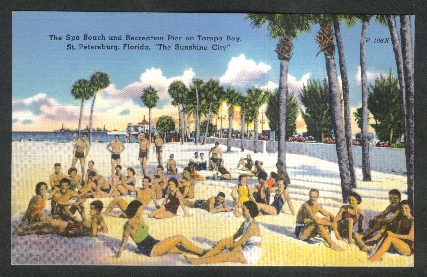 Sunshine City Spa Beach Recreation Pier St Petersburg FL postcard 1930s