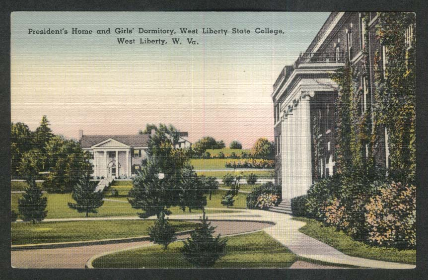 President's Home & Girls' Dormitory West Liberty State College WV postcard 1930s