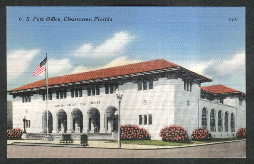 US Post Office Clearwater FL postcard 1930s