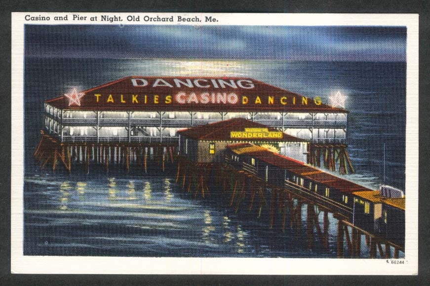 Casino & Pier at Night Old Orchard Beach ME postcard 1930s