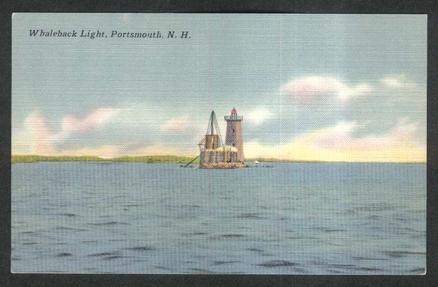 Whaleback Light Portsmouth NH postcard 1930s