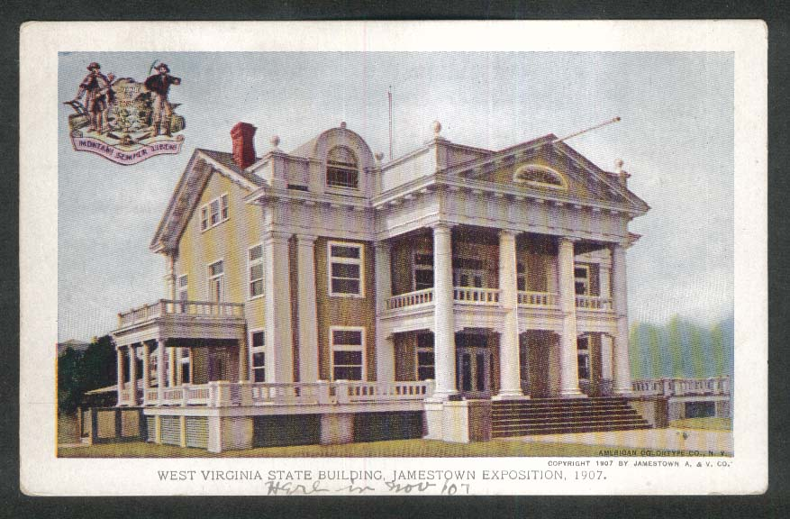 Jamestown Exposition 1907 postcard West Virginia State Building