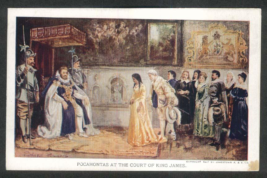 Jamestown Exposition 1907 postcard Pocahontas at Court of King James