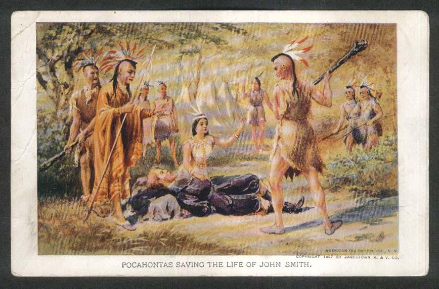 Jamestown Exposition 1907 postcard Pocahontas saving John Smith