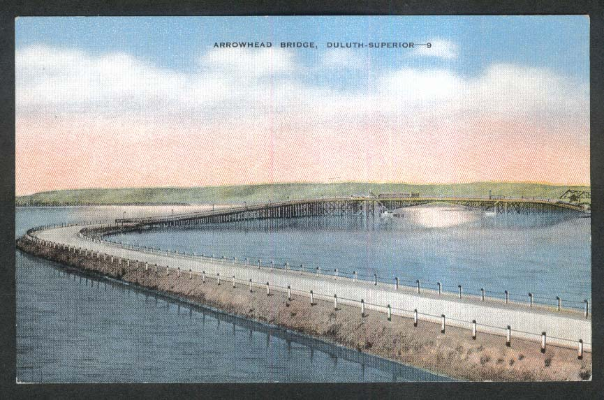 Arrowhead Bridge Duluth-Superior MN WI postcard