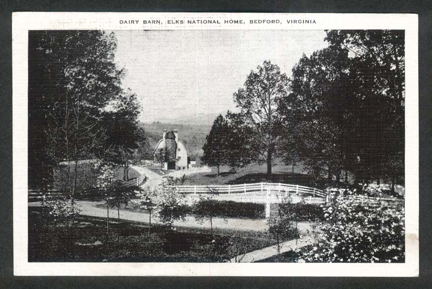 Dairy Barn Elks National Home Bedford VA postcard 1930s