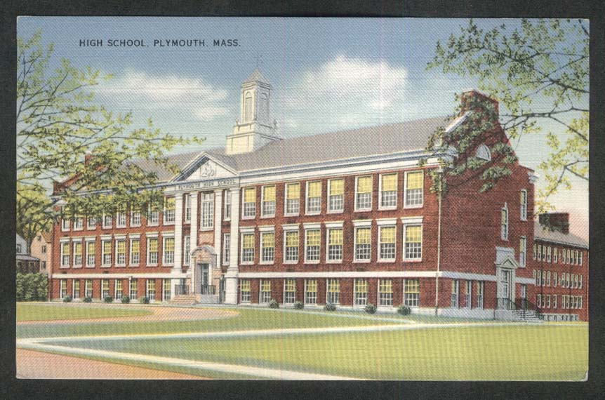 High School Plymouth MA postcard 1930s