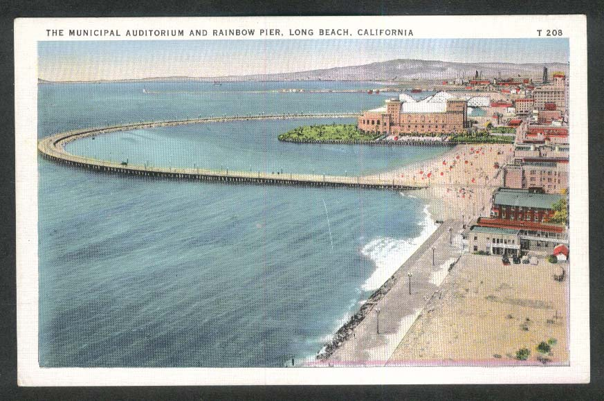 The Municipal Auditorium & Rainbow Pier Long Beach CA postcard 1930s