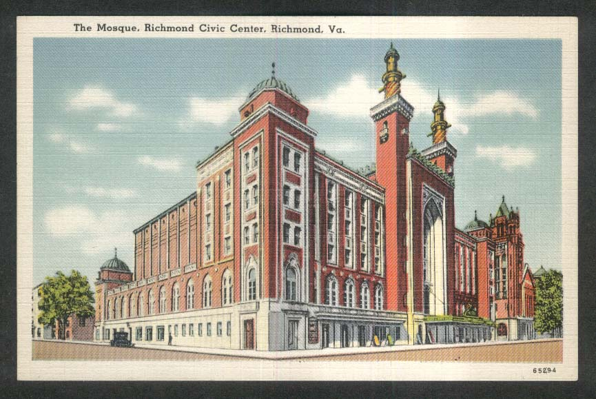 The Mosque Richmond Civic Center Richmond VA postcard 1930s
