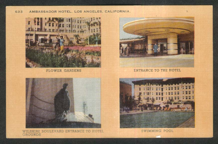 Flower Gardens Swimming Pool Ambassador Hotel Los Angeles CA postcard 1930s