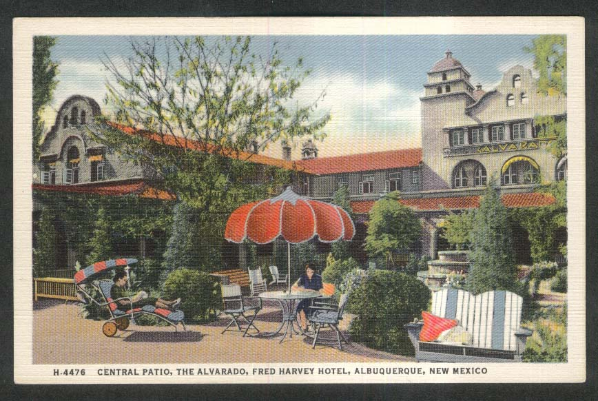 Central Patio The Alvarado Fred Harvey Hotel Albuquerque NM postcard 1930s