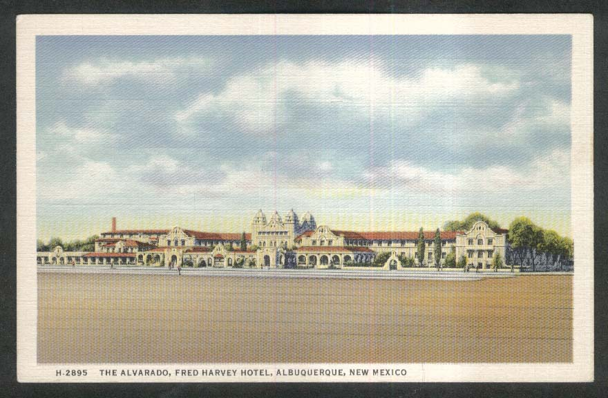 Alvarado Fred Harvey Hotel Albuquerque NM postcard 1930s