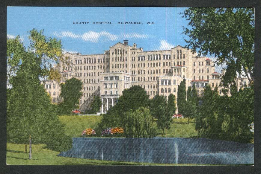 County Hospital Milwaukee WI postcard 1930s