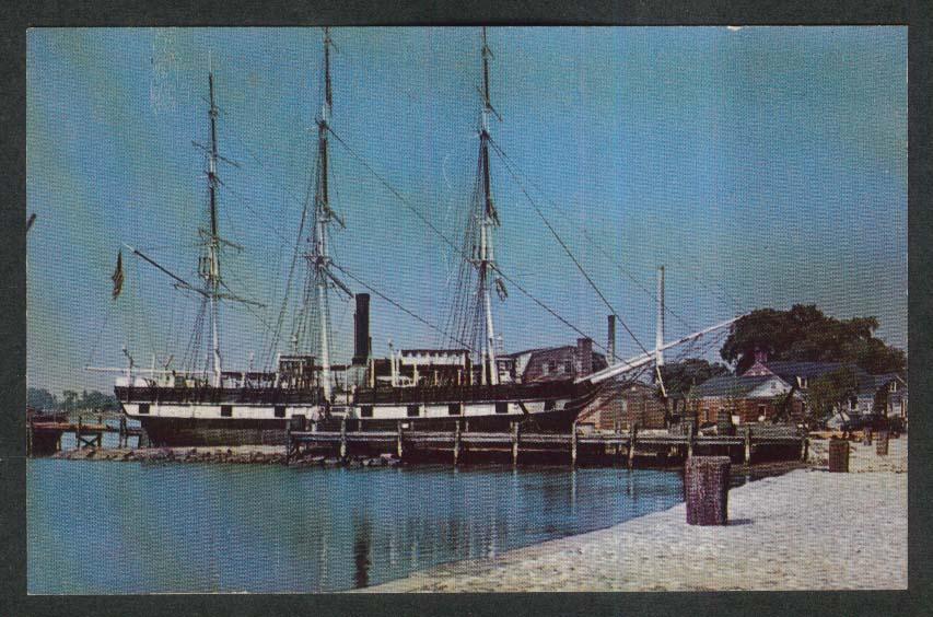 Whaleship Charles W Morgan postcard 1950s