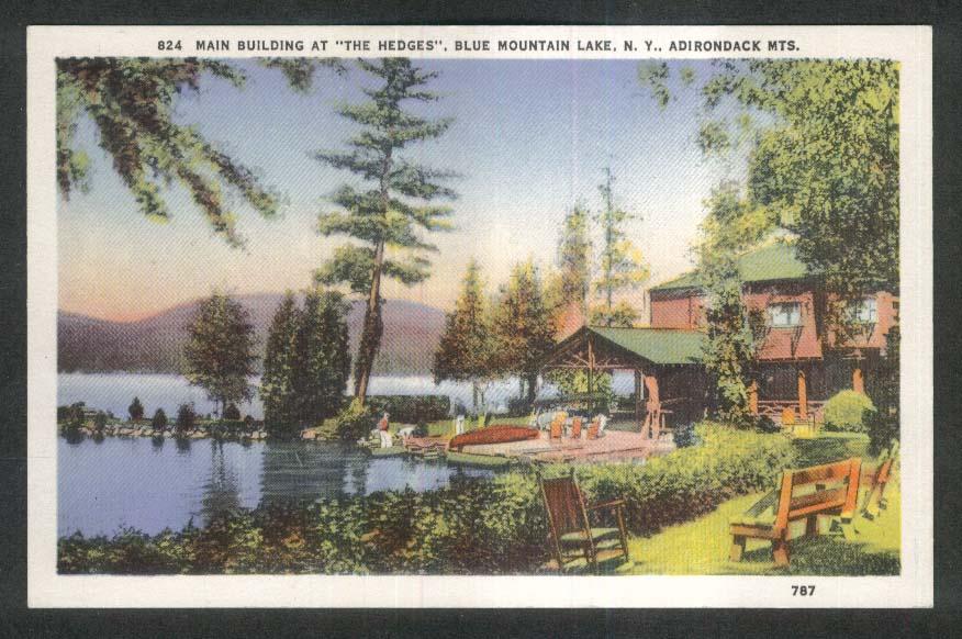 Main Building at the Hedges Blue Mountain Lake NY Adirondack Mts postcard 1920s