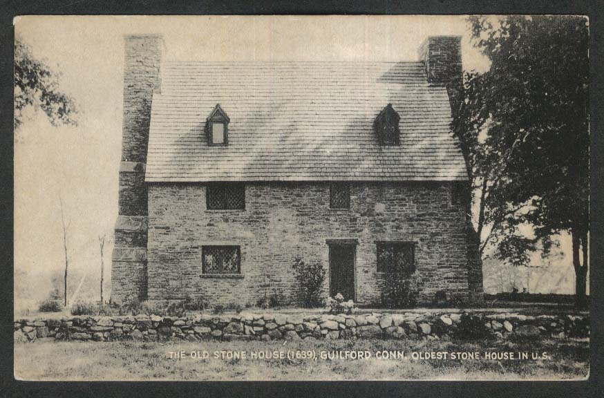 The Old Stone House Guilford CT postcard 1910s
