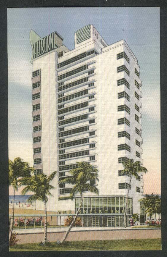 The Shelborne Hotel Ocean at 18th Miami Beach FL postcard 1930s