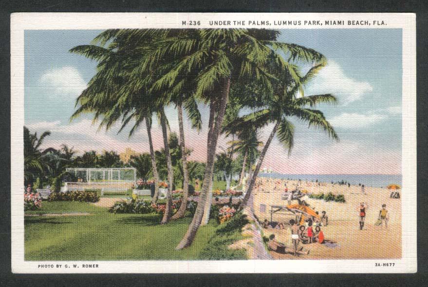 Under the Palms Lummus Park Miami Beach FL postcard 1930s