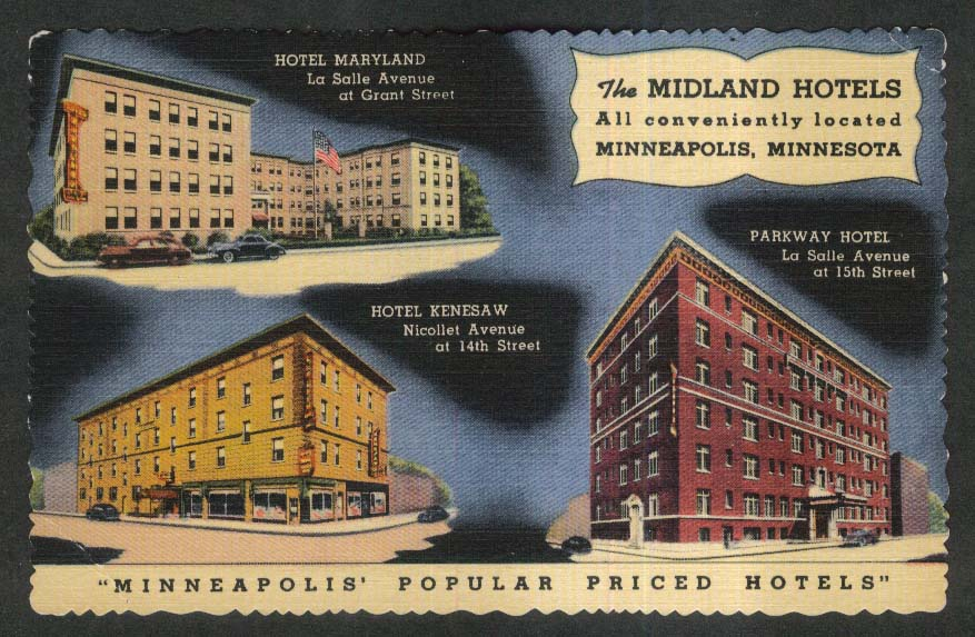 Maryland Parkway Kenesaw Midland Hotels Minneapolis MN postcard 1930s