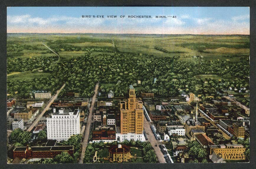 Bird's-Eye View of Rochester MN postcard 1930s