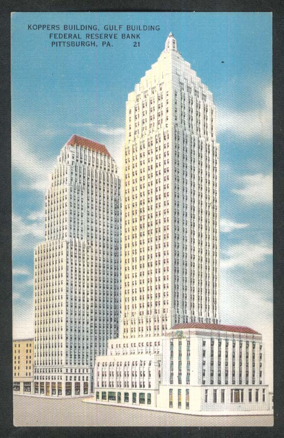 Koppers & Gulf Buildings Federal Reserve Bank Pittsburgh PA postcard 1930s