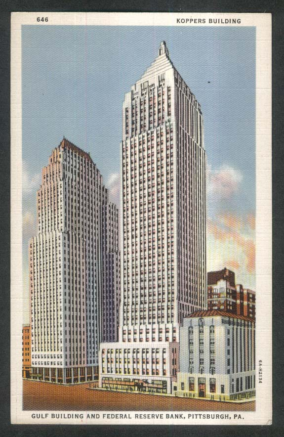 Koppers Building Gulf Building Federal Reserve Bank Pittsburgh PA postcard 1930s