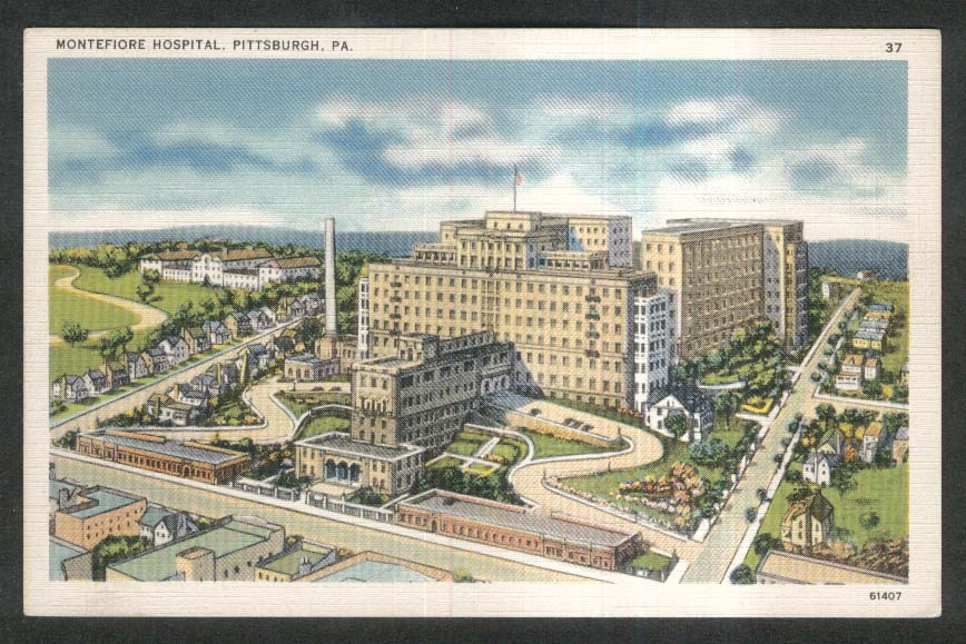 Montefiore Hospital Pittsburgh PA postcard 1930s