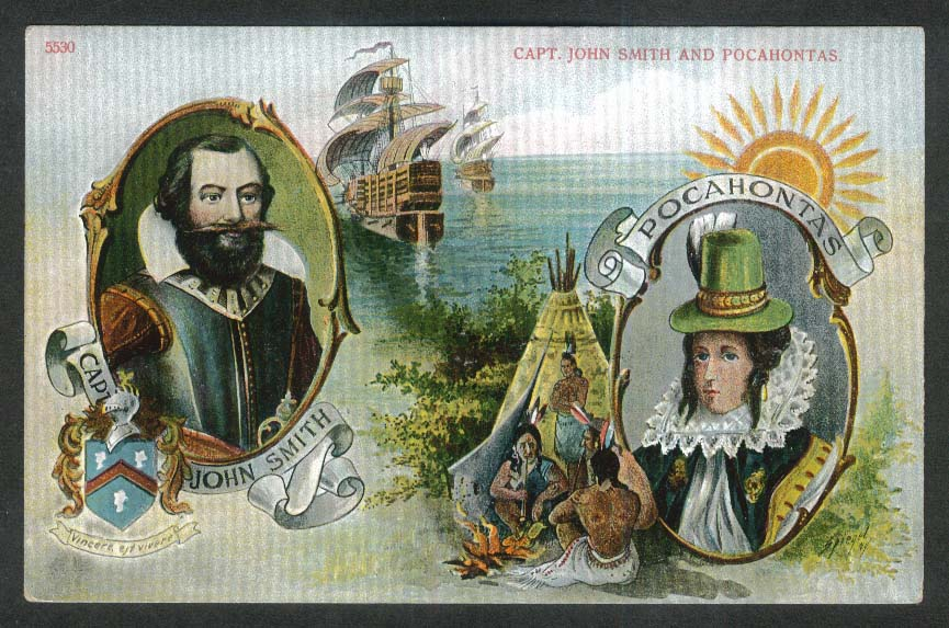 Captain John Smith & Pocahontas portraits postcard 1910s
