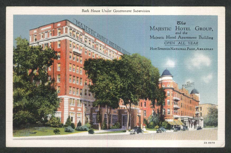 Majestic Hotel Apartment Building Hot Springs National Park AR postcard 1930s