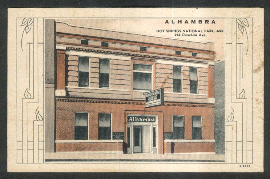 Alhambra Bath House 214 Ouachita Ave Hot Springs National Park AR postcard 1930s
