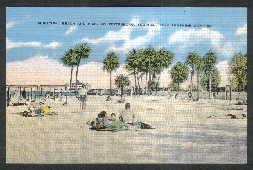 Municipal Beach & Pier St Petersburg FL The Sunshine City postcard 1930s