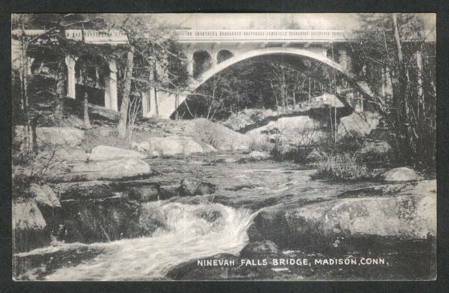Ninevah Falls Bridge Madison CT postcard 1940s