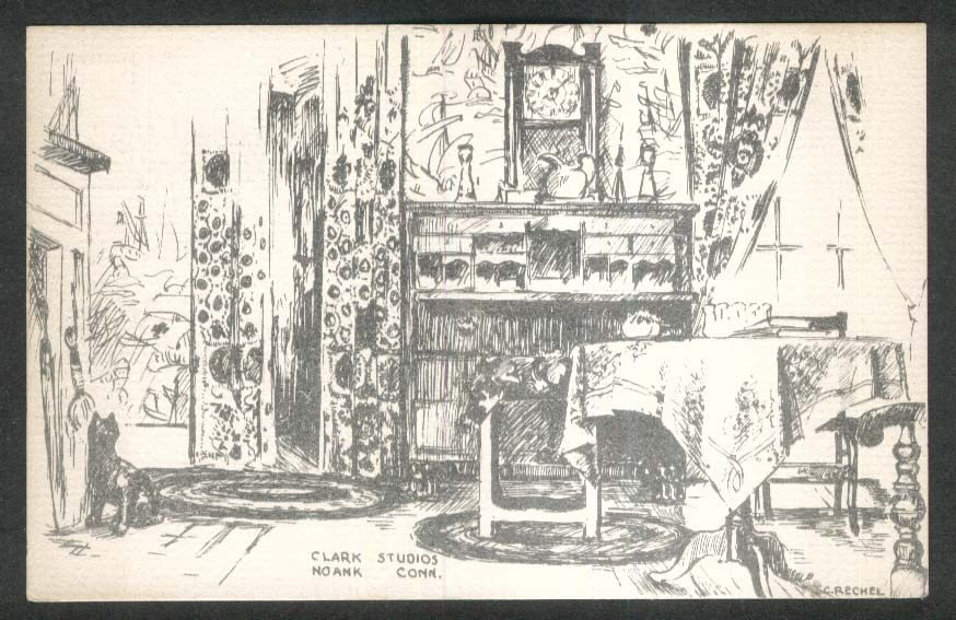 Interior of Clark Studios Noank CT postcard 1930s