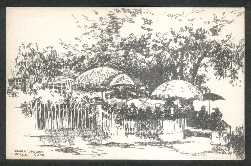 Umbrellas Clark Studios Noank CT postcard 1930s