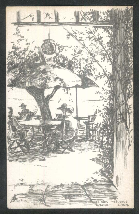 Clark Studios Noank CT postcard 1930s Table & Umbrella