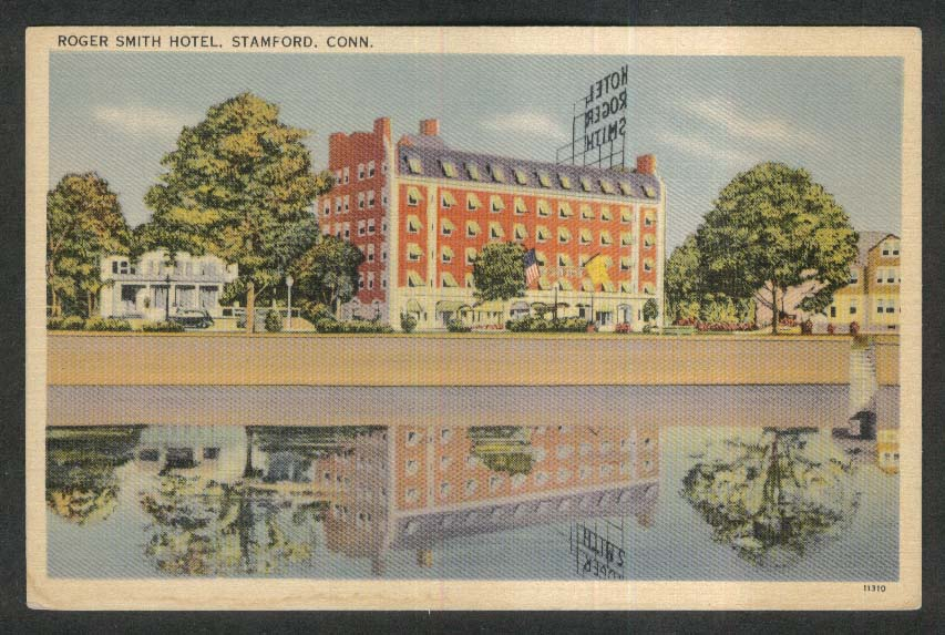 Roger Smith Hotel Stamford CT postcard 1930s