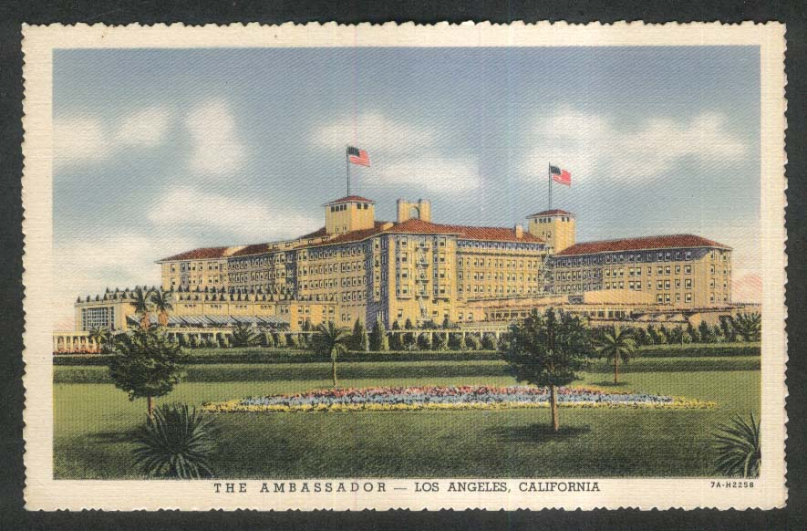 The Ambassador Los Angeles CA postcard 1930s