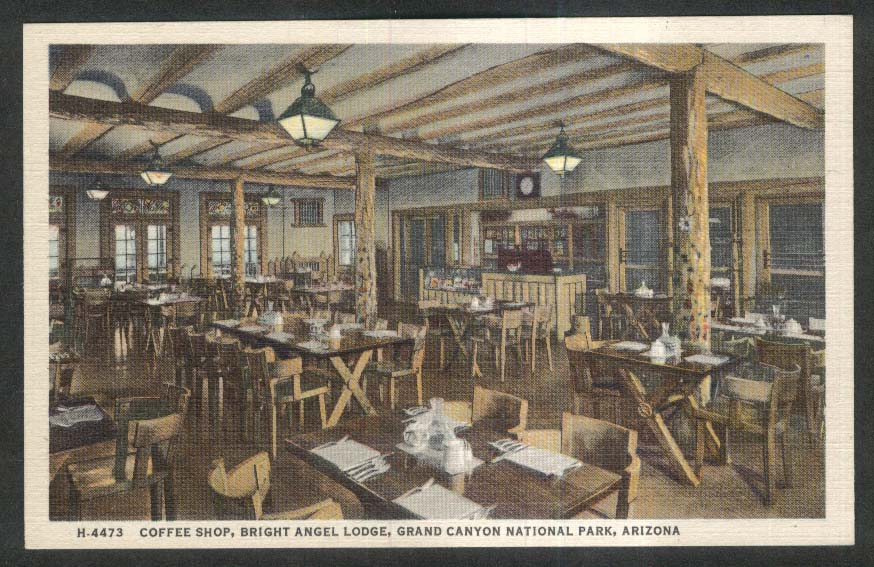 Coffee Shop Bright Angel Lodge Grand Canyon National Park AZ postcard 1930s