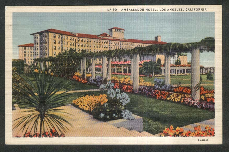Ambassador Hotel Los Angeles CA postcard 1930s