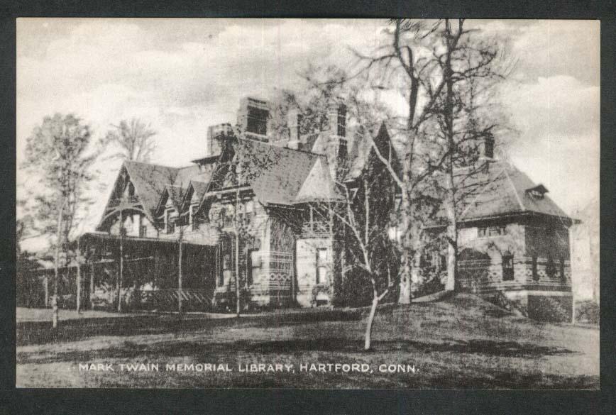 Mark Twain Memorial Library Hartford CT postcard 1940s